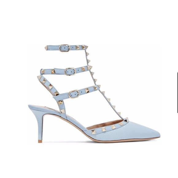 ab95228b0d Valentino Shoes | Rockstud Leather Pumps In Sky Blue | Poshmark